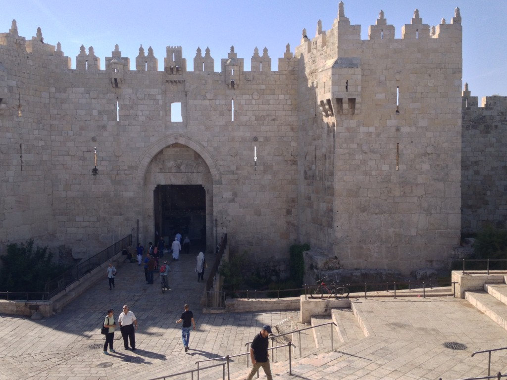 Damascus Gate, the main Arab entrance to the Old City, built on the ruins of a Roman gate built by the Emperor Hadrian, back when he changed the name of the city to Aelia Capitolina and expelled all Jews.